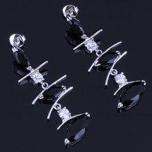 Silky Long Marquise Black Cubic Zirconia White CZ 925 Sterling Silver Drop Dangle Earrings For Women V0792