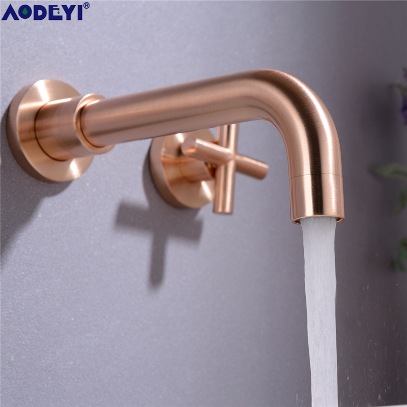Matte Black Brass Double Handle Wall Mounted Bathroom Sink Faucet Hot & Cold Basin Faucet Black Tap