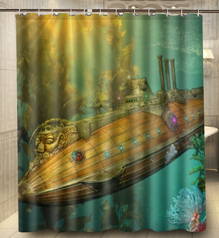 Custom Steampunk Punk Sci Fi Vehicles Submarine Shower Curtain 160x180cm Waterproof Mouldproof Decor Bathroom