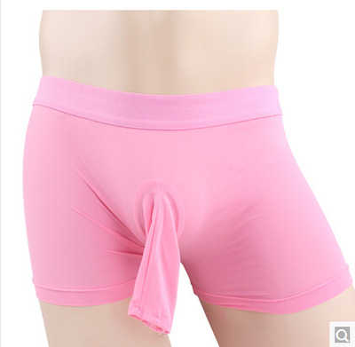 Brand sexy Mens boxers with opened penis pouch bag Mens Sexy Underwear short black, white, red, khaki,pink