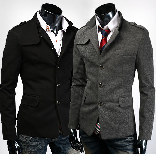 New Men's Casual Slim Fit Stand Collar Single Breasted Dress Suit ...