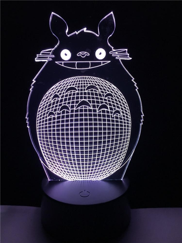 Նոր 2017 երեխաների օրվա մուլտֆիլմ Totoro 3D USB LED օպտիկական պատրանք Գիշերային լույս Քուն ժամանակակից մանկական լամպ de mesa kid Աչքերի խնամք
