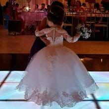 Бальное платье принцессы с длинными рукавами; Платья с цветочным узором для девочек; потрясающее милое белое платье для первого причастия с аппликацией из бисера для девочек