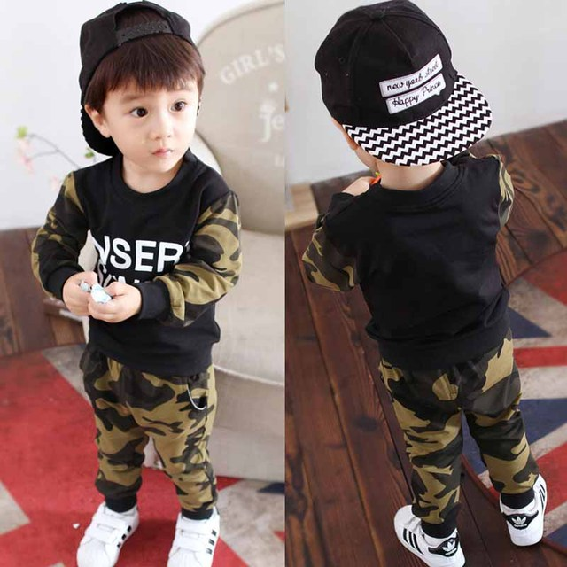 Spring Autumn fashion baby clothing boys military uniform camouflage shirt+ pants 2pcs kids boy clothes Children clothing set