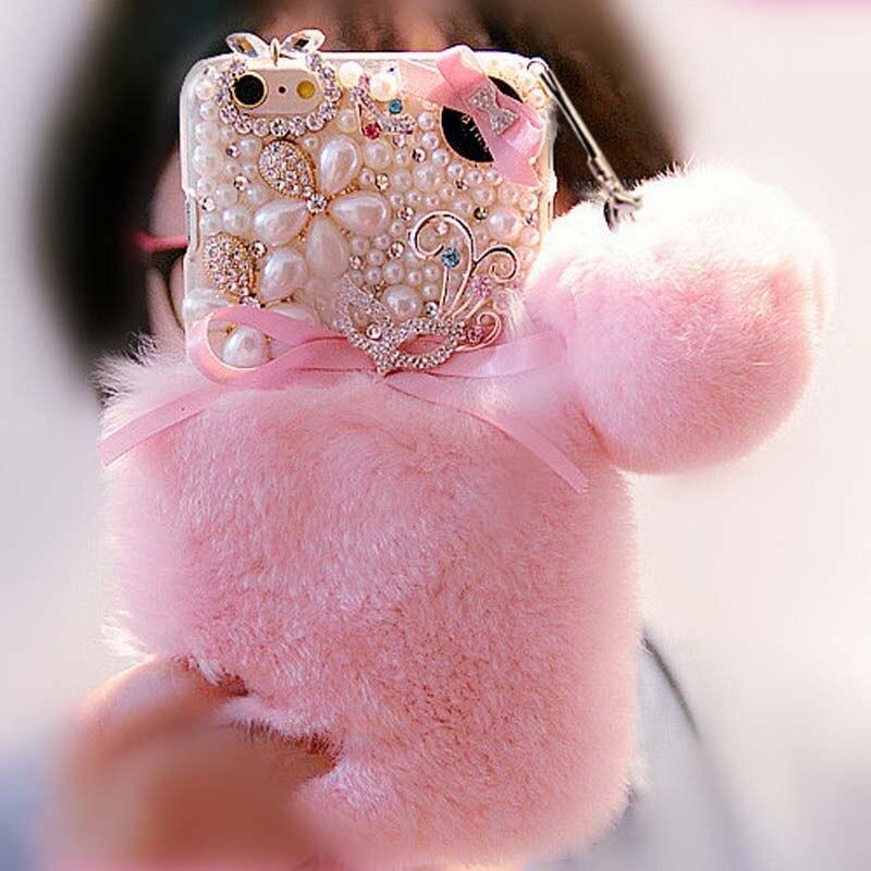imágenes para Top real de conejo rex pelo piel capa fundas coque case para iphone 7 además de 7 5 5S sí 5c 6 6 s plus pompom flores de perlas de diamantes cubierta