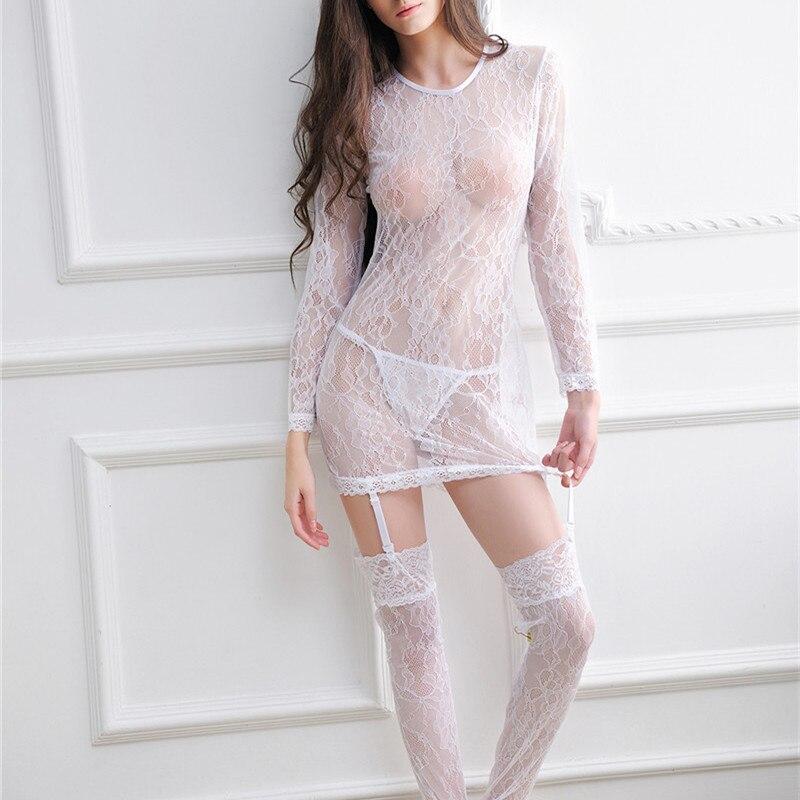 317cdb97e مثير المرأة عارية الذراعين الملابس الداخلية اللباس ملابس نوم الساخن ملابس  خاصة ثوب النوم + مثير سراويل + جوارب + أحزمة الرباط