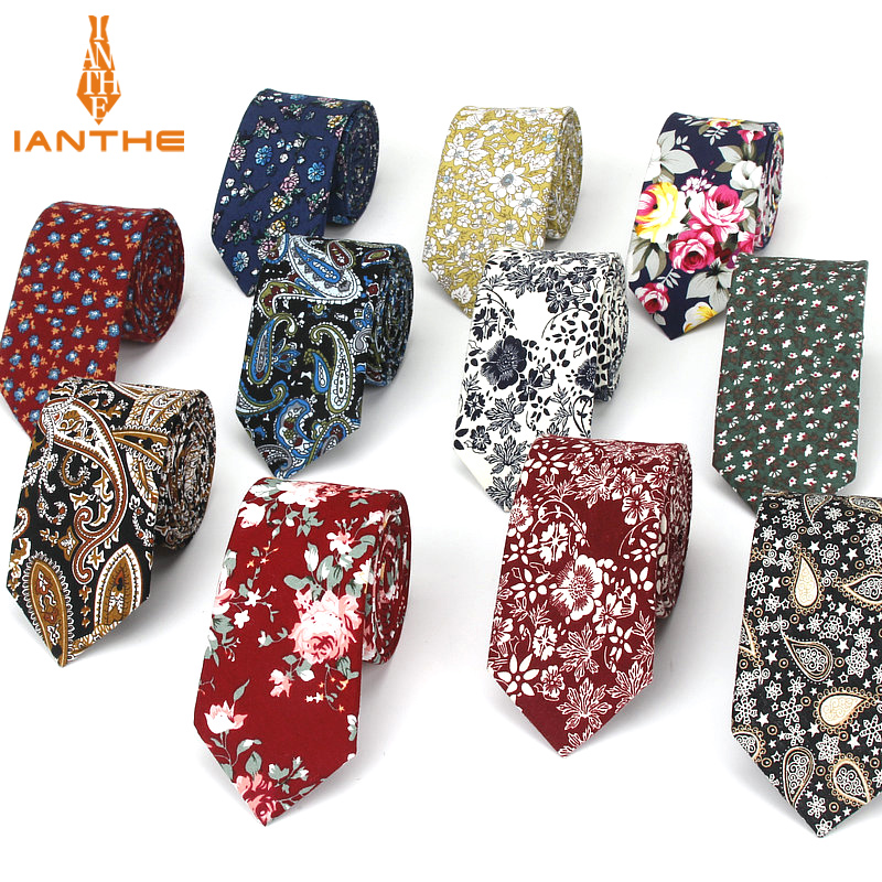 6cm Vintage Floral Cotton Brand Ties For Men Wedding Black Tie Slim Gravatas Corbatas Fashion Casual Printed Tie Necktie Cravate