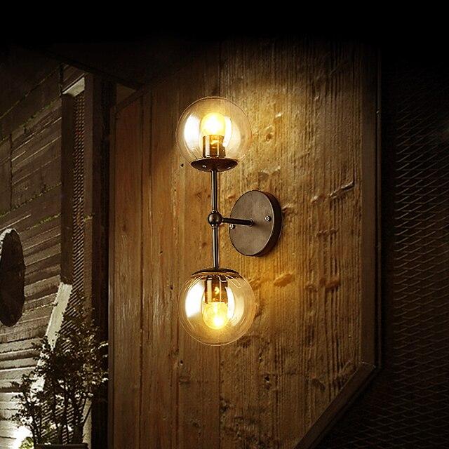 Retro Wandleuchte Industriebeleuchtung Zwei Klare Glas Schatten Antike Lampe Fr Kaffee Bar Wohnzimmer 5