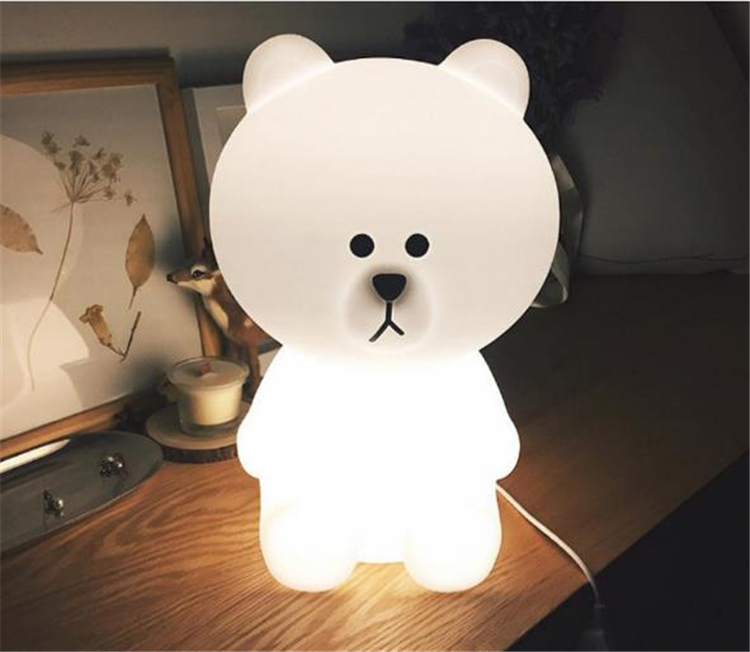 Ins Hot Big White Bear 50cm Children Bedroom Led Night Light Baby Sleeping Light Baby Picture Prop Lamp Dec Free Shipping