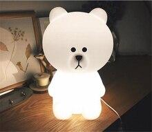 Ins sıcak büyük beyaz ayı 50cm çocuk yatak odası Led gece lambası bebek uyku ışık bebek resim Prop lamba Dec ücretsiz kargo