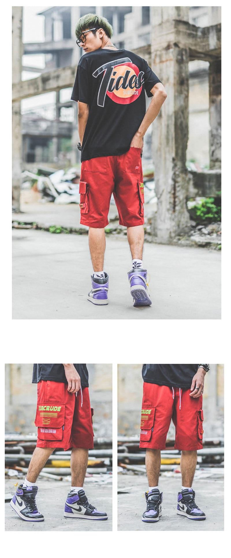Japanese Harajuku Big Pockets Mens Cargo Shorts for Summer Urban Boys Streetwear Drawstring Hip Hop Short Pants Plus Size M-XXL 5