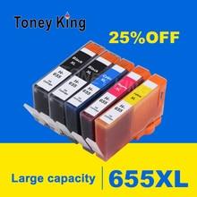 5Pcs for HP 655 Ink Cartridges for HP655 Cartridge 655XL Deskjet 6520 6525 6625 3525 4615 4625 5525 Printers Inkjet Printer