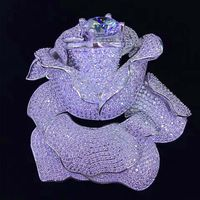 one pcs red blue white flower brooch zircon knoted plated DIY pendant DIY Jewelry wholesale lock hook FPPJ FPPJ