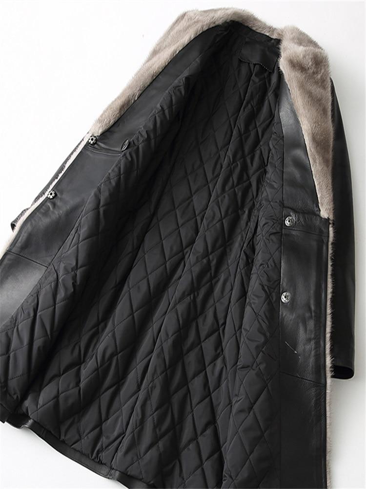 Manteau D'hiver Top Vestes Femmes Veste Yolanfairy Cuir De Le En Véritable Peau Vers Mf241 Mouton Qualité Fourrure Col Coton Bas Black Chaud Vison 4zwqxfRU