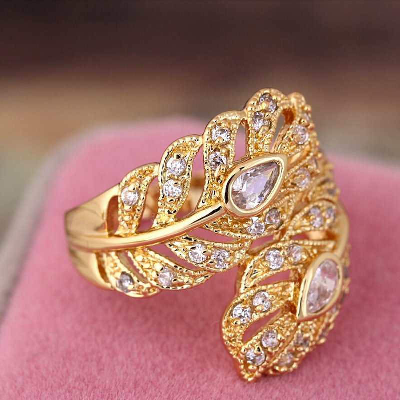 New Design Gold Color Big Wedding Rings Vintage AAA Zircon Leaf