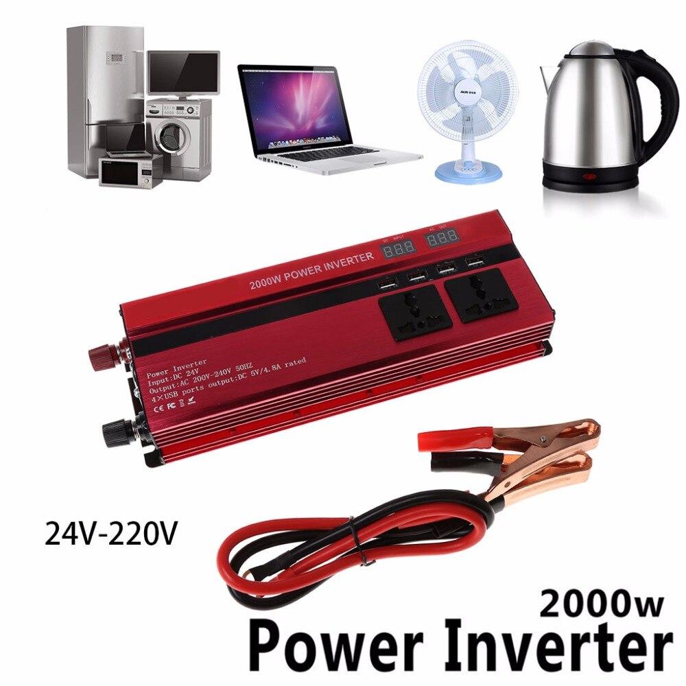 2000W Peak Car LED Power Inverter DC 12V To AC 220V DC 24V To AC 220V