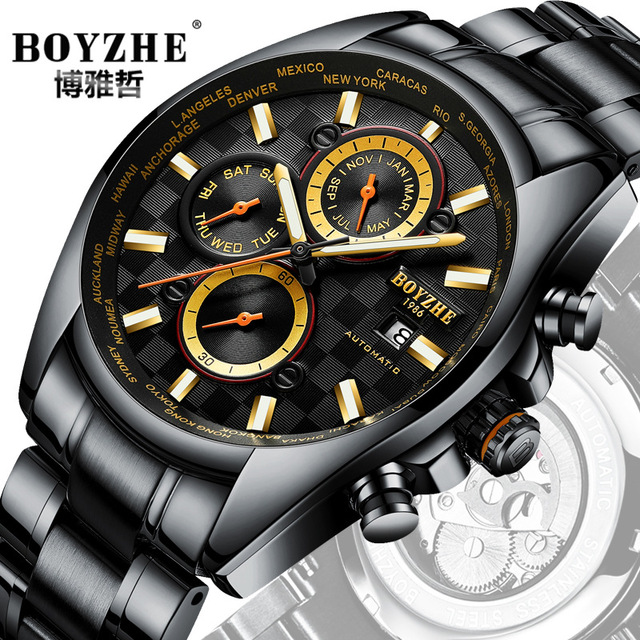 Men Automatic Mechanical Watches White Fashion Casual BOYZHE Luxury Brand Stainless Steel Racing Watch Relogio MasculinoMen Automatic Mechanical Watches White Fashion Casual BOYZHE Luxury Brand Stainless Steel Racing Watch Relogio Masculino