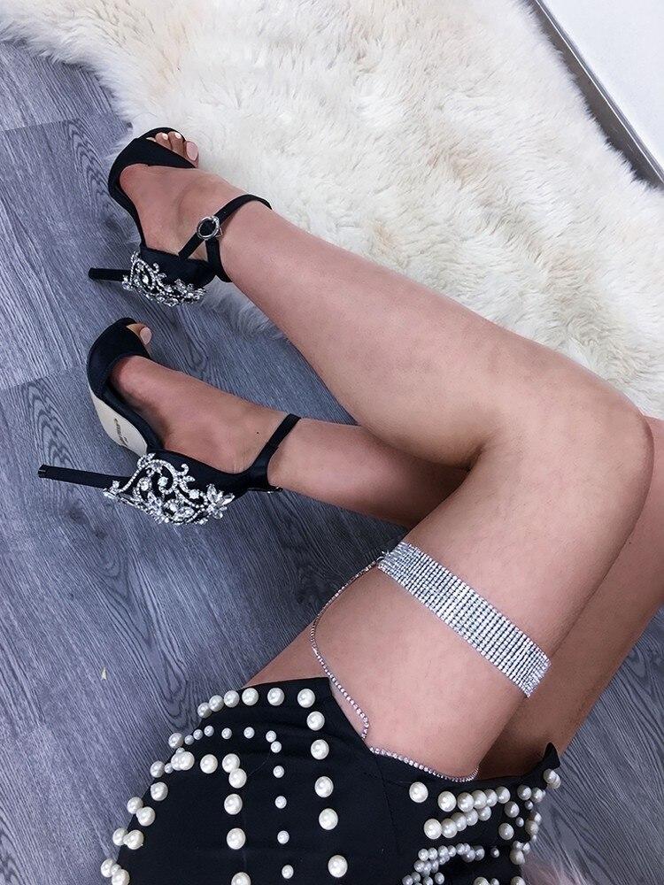 D'eau Noir Talons Hauts Koovan Newluxury Bling Forage De À 2019 Sandales Chaussures Strass D'été Femmes Pqw6awR