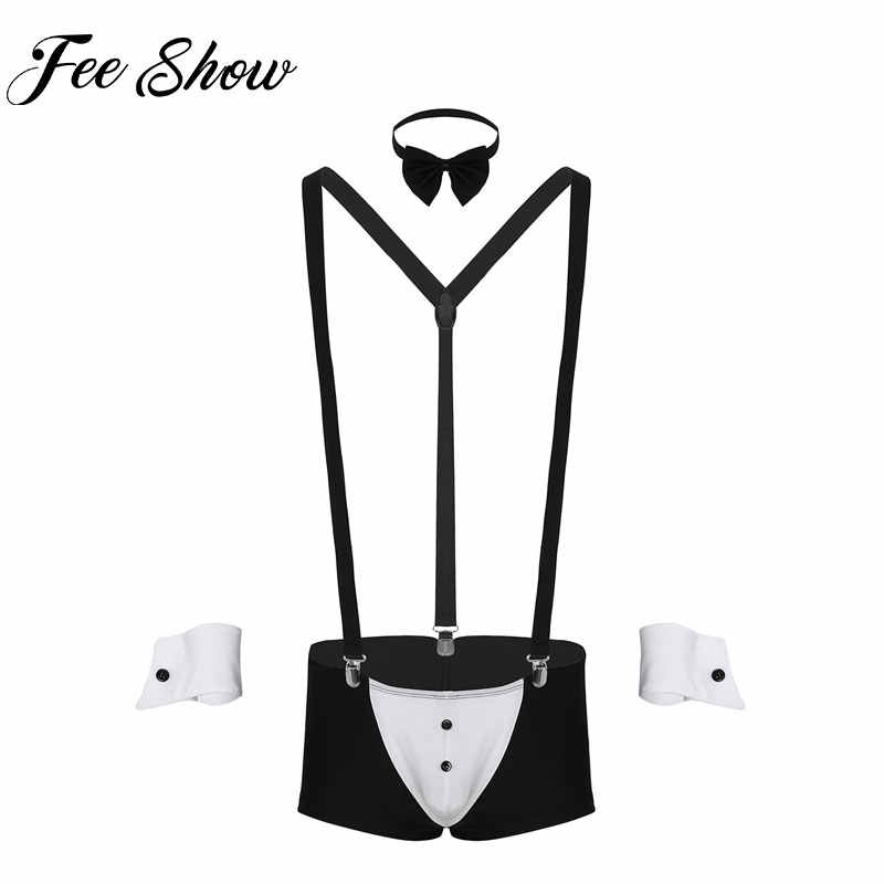82bc611d888 Sexy Men Maid Role Play Waiter Costume Outfits Male Gay Lingerie Sets with  Boxer Underwear Bow