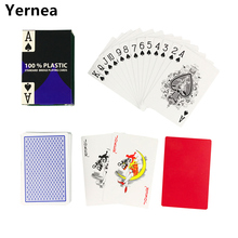 Hot new 1 Sets/Lot 2 Color for Red and Blue Baccarat Texas Hold'em PVC Waterproof plastic playing poker cards 58*88mm Yernea