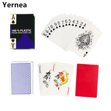 Hot new 1 Sets/Lot 2 Color for Red and Blue Baccarat Texas Hold'em PVC Waterproof plastic playing poker cards 58*88mm Yernea(China)