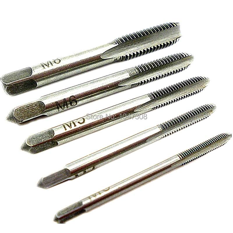 10pcs Diameter 2mm-8mm Hand Screw Thread Hole Metric Plug Straight Flute Tap Set