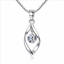 TJP Fashion 925 Sterling Silver Pendant Necklace For Women Bride Wedding Shiny Crystal Choker Necklace Jewelry Valentine's Day все цены