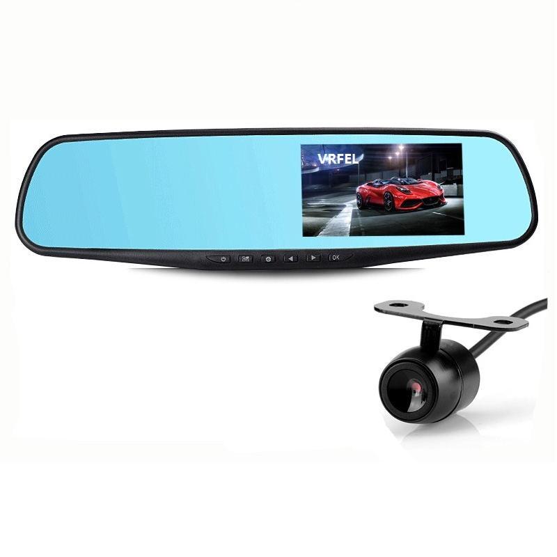 Dual lenses car dvr Car camera Dual camera Rear View mirror 1080P Recording mirror Rearview dvr 4.3Automobile black box