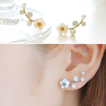 Lady New Charming Elegant Golden Silvery Crystal Rhinestone Branches Flower Stud Earring Fashion Jewelry Gift