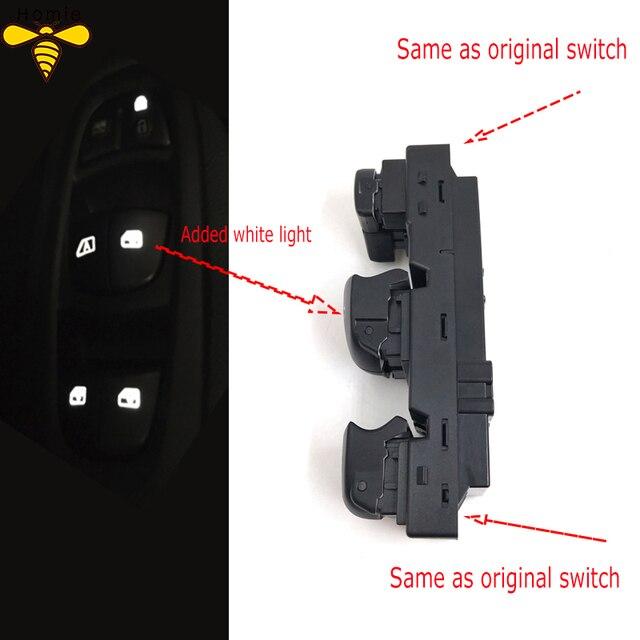 Freies Verschiffen! Neue Starter Elektrische Fensterheber Schalter Mit Weiß Licht Für Renault Kadjar 2015 2016 2017 2018 Keine Panel