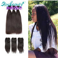 Rosa beauty 8-40 Brazilian Human Hair Weave Straight 3 4 Bundles With Lace Closure Frontal 28 30 32 34 inch Natural Color Remy