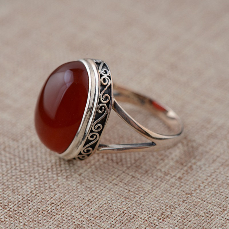 FNJ Natural Red Stone Ring 925 Sterling Silver Anillos Round S925 Thai Silver Rings For Women Jewelry Male Men