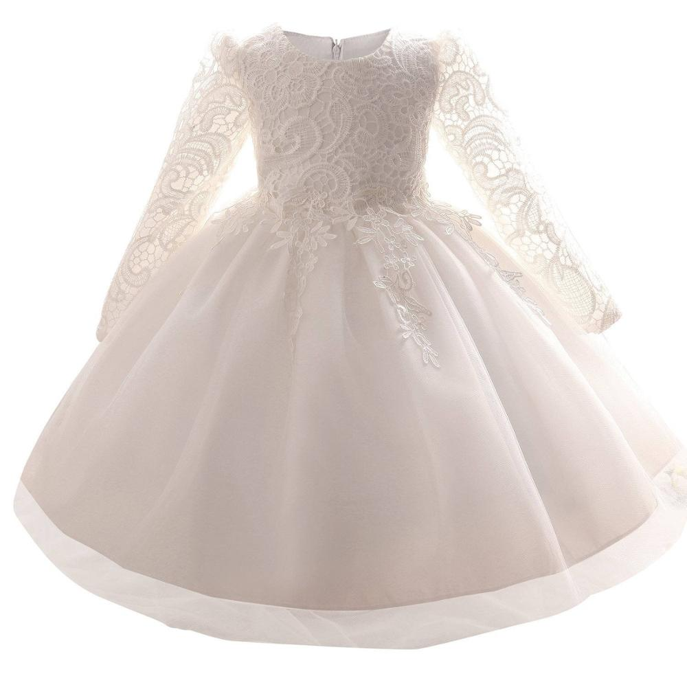 White Baby Kids Frocks Designs Dresses For Girls Lace Christening Gown Infant Tutu Girls Clothes For 1 Year Birthday Party Dress day dress