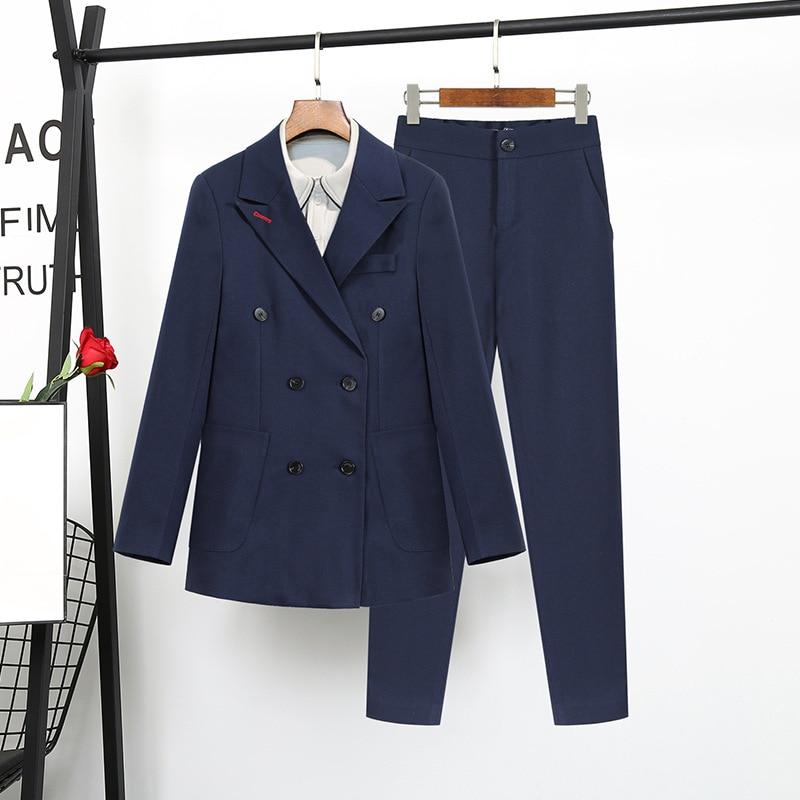 high quality Navy Blue suit female Korean fashion ladies Slim Blazer Suit Two Piece Trousers Blazers