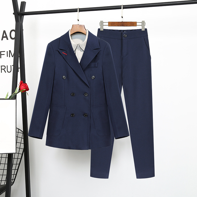 high quality Navy Blue suit female Korean fashion ladies Slim Blazer Suit Two Piece Trousers + Blazers 2PC Female Sets Pants 5XL-in Pant Suits from Women's Clothing    1