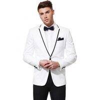 New Groomsmen Terno Masculino 2017 White Notch Lapel Groom Tuxedos Center Vent Mens Suits Wedding Best