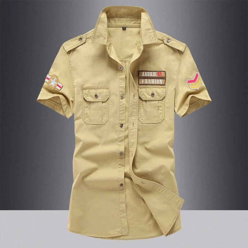 DIMUSI Summer Mens Shirts Male Army Military Camouflage Short Sleeve Cotton Shirts Men Business Shirt Brand Clothing 6XL,TA090 4