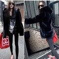 New Winter 2016 Women Plus Size Artificial Mink Fur Coat With Hood Ladies Zipper Full Sleeve Loose Long Faux Rabbit Fur Coats