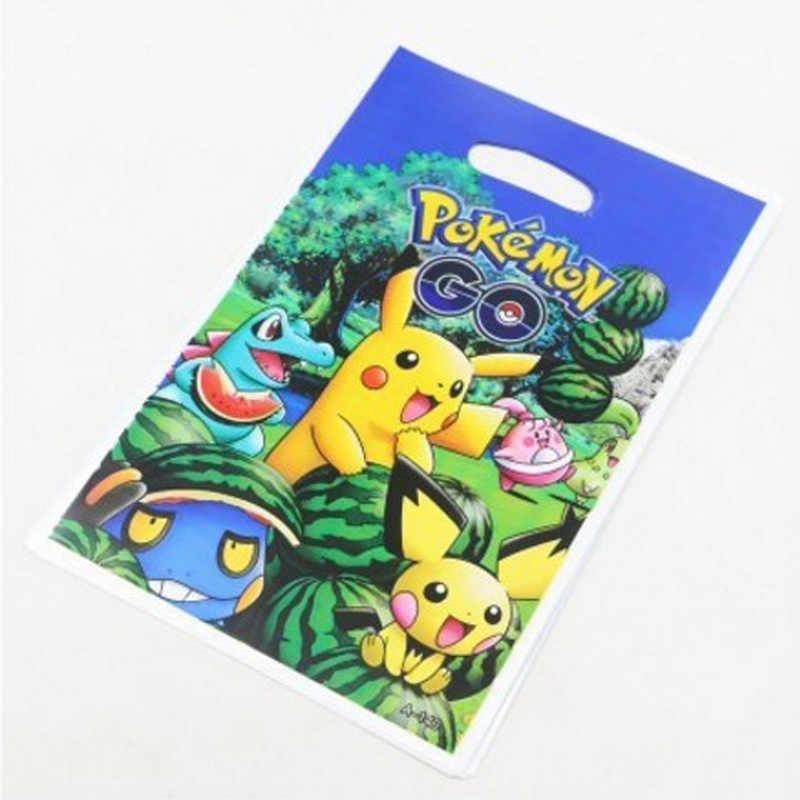 Pokemon Go motyw z okazji urodzin dekoracje plastikowe torby na prezenty dla dzieci chłopców sprzyja Pikachu łup torba Baby Shower dostaw 10 PC