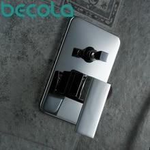 BECOLA envío gratis cromo pulido De latón macizo cuarto de baño ducha de pared oculto panel handle. BR-9111 interruptor de la válvula de control