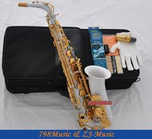 White Paint Alto Saxophone Eb Sax Abalone Keys High F# With Case