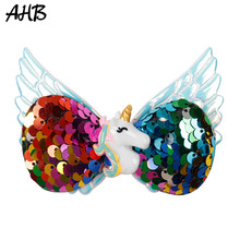 AHB 3.5 Reversible Sequin Unicorn Hair Clips Bows for Girls Wing Rainbow Barrettes Kids Hairpin Hairgrips Accessories