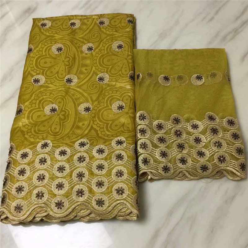 Tela de encaje africano Shadda Bazin Riche tela nuevo diseño bordado 5 yardas Bazin Riche Getzner con encaje de tul de 2 yardas para el vestido-in Tela from Hogar y Mascotas    1