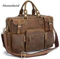Вещевой мешок Для мужчин Дорожная сумка Чемодан сумка Винтаж Crazy Horse из натуральной кожи Для мужчин большой ноутбук сумка карманов коричнев