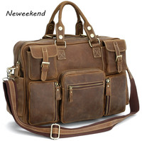 NEWEEKEND Vintage Crazy Horse Genuine Leather Travel Bag Men Duffel Bag Luggage Large Laptop Handbag Tote