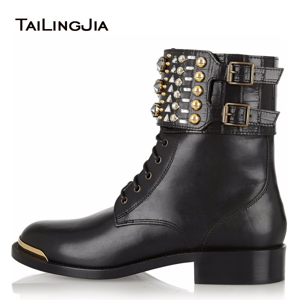 2017 Women Low Heel Ankle Booties Lace up Studs Combat Boots Ladies Round Toe Block Heel Autumn Fall Winter Flat Shoes Plus Size beango fashion metal toe rivets women boots lace up round toe low heel motorcycle booties casual shoes woman big size 34 43eu