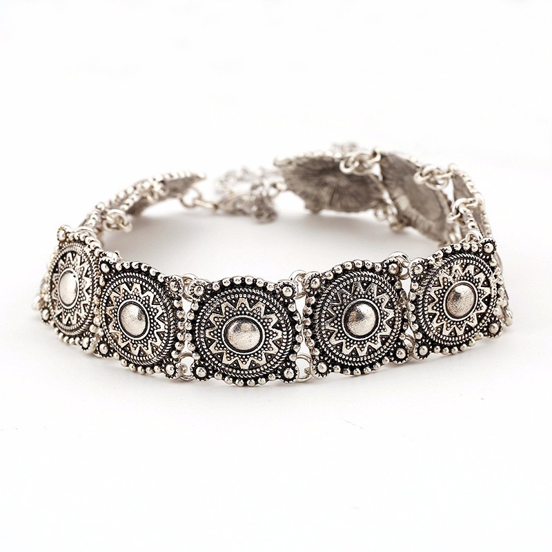 Hot Boho Collar Choker Silver Necklace statement jewelry for women Fashion Vintage Ethnic style necklace