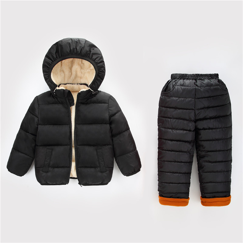 2018 Autumn Winter Boys Clothes Set Parkas Coat + Pants Fashion Casual Detachable Hooded Velvet Jacket Children Girl Clothing