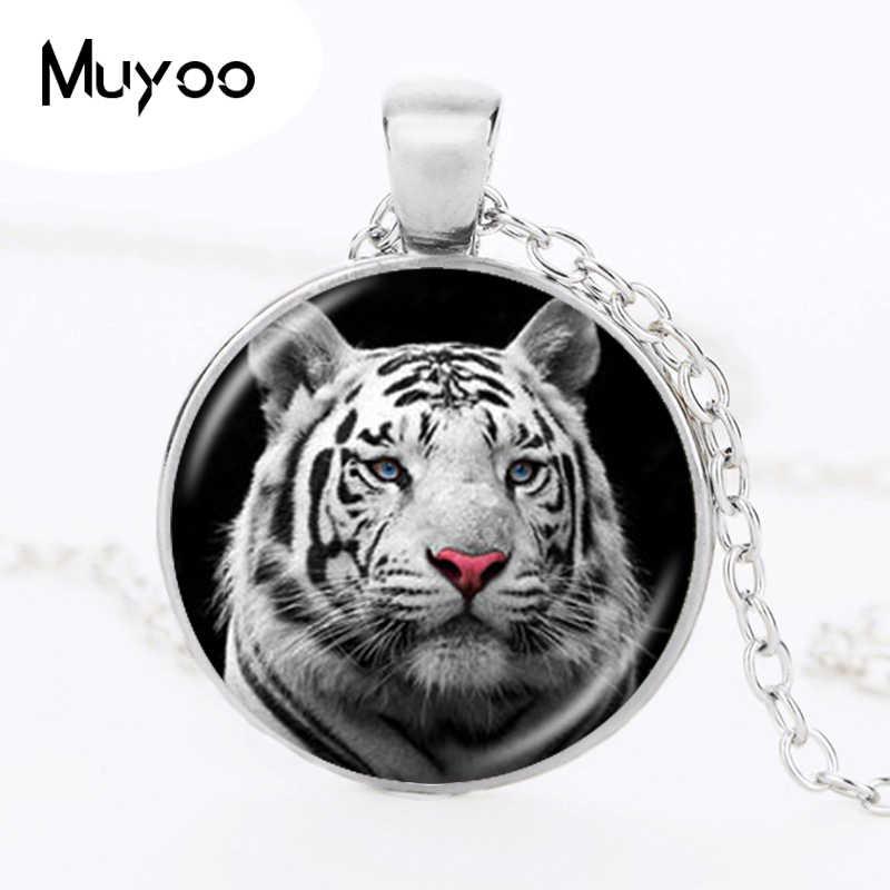 Tygrys naszyjnik natura duży wisiorek z kotem dżungla dzika biżuteria dla zwierząt szkło Cabochon srebrny brązowy naszyjnik sweter dla kochanka HZ1