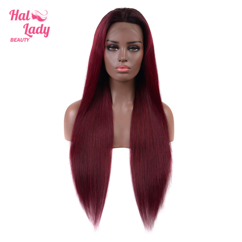 Halo Lady Beauty 13x4 Ombre Color T1B 99J Red 27 Lace Front Wigs Plucked Ear to